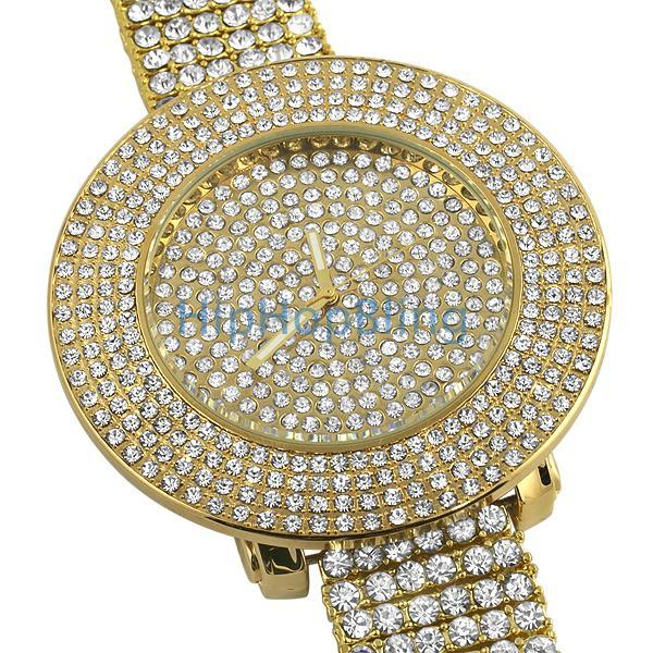 Custom Gold Totally Iced Out Watch & 6 Row Band
