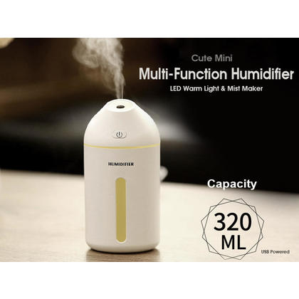 320ML Multi-Function Mini Mist maker, USB powered with LED warm Light for Office, Home, Car - White