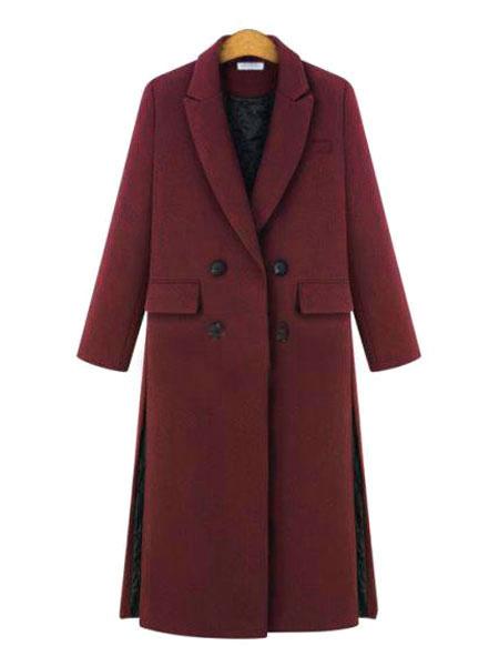 Milanoo Women Coat Longline Turndown Collar Button Slit Winter Coat