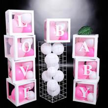 4pcs Square Clear Paper Box Without Balloon