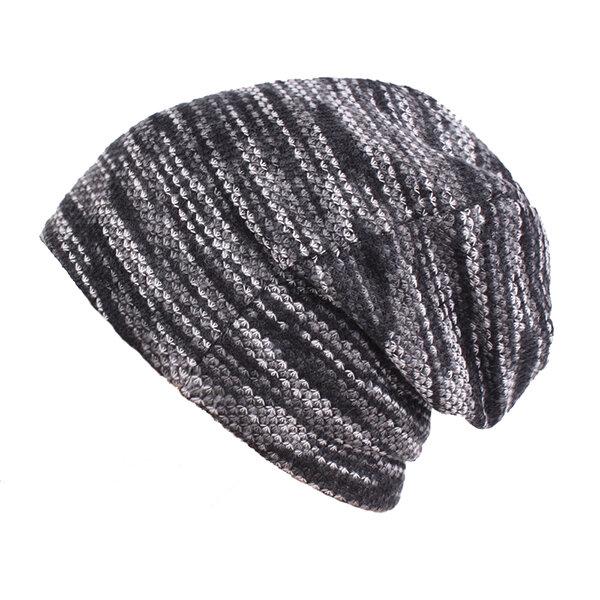 Men Waves Stripe Print Beanies Hat Casual Windproof Warm Bonnet Skullies Hats