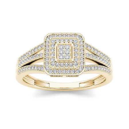 1/6 CT. T.W. Diamond 10K Yellow Gold Engagement Ring, 7 1/2 , No Color Family