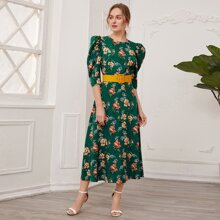 Puff Sleeve Floral Dress With PU Leather Belt