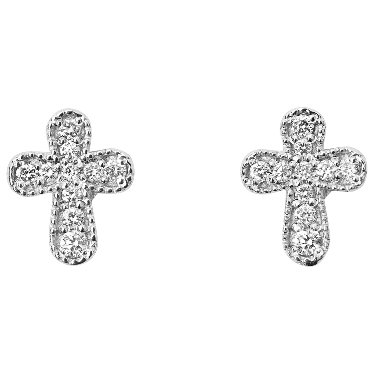 Non Signe / Unsigned Motifs Religieux OhrRing in  Weiss Weissgold
