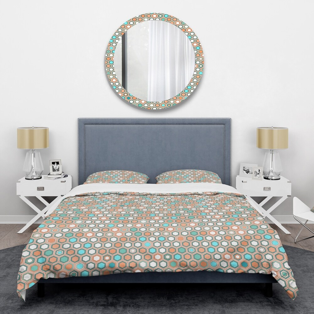Designart 'Retro Hexagon Pattern III' Mid-Century Duvet Cover Set (Twin Cover + 1 sham (comforter not included))