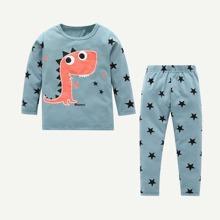 Kleinkind Jungen T-Shirt mit Dinosaurier, geometrischem Muster und Hosen
