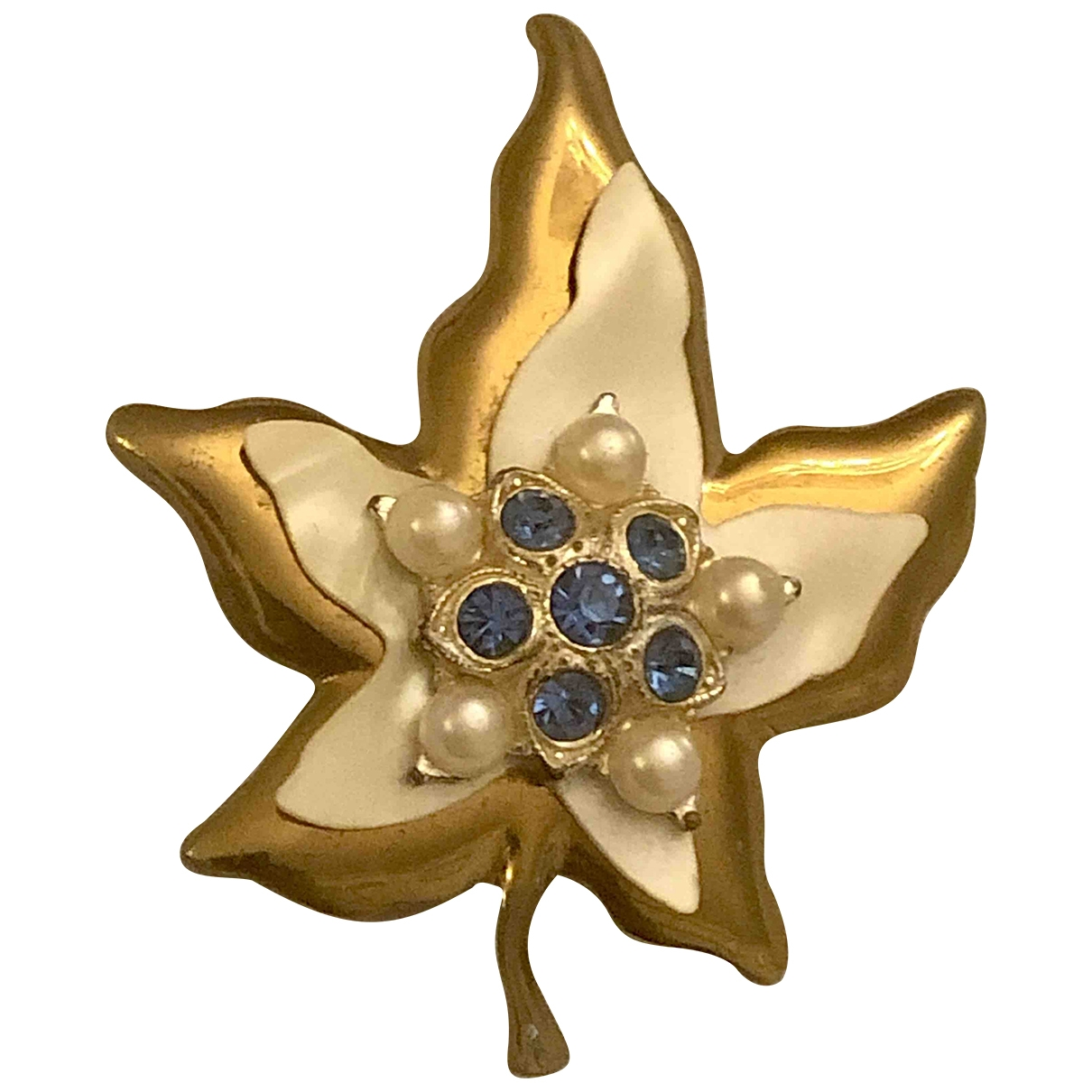 Non Signe / Unsigned Art Deco Brosche in  Gold Perle