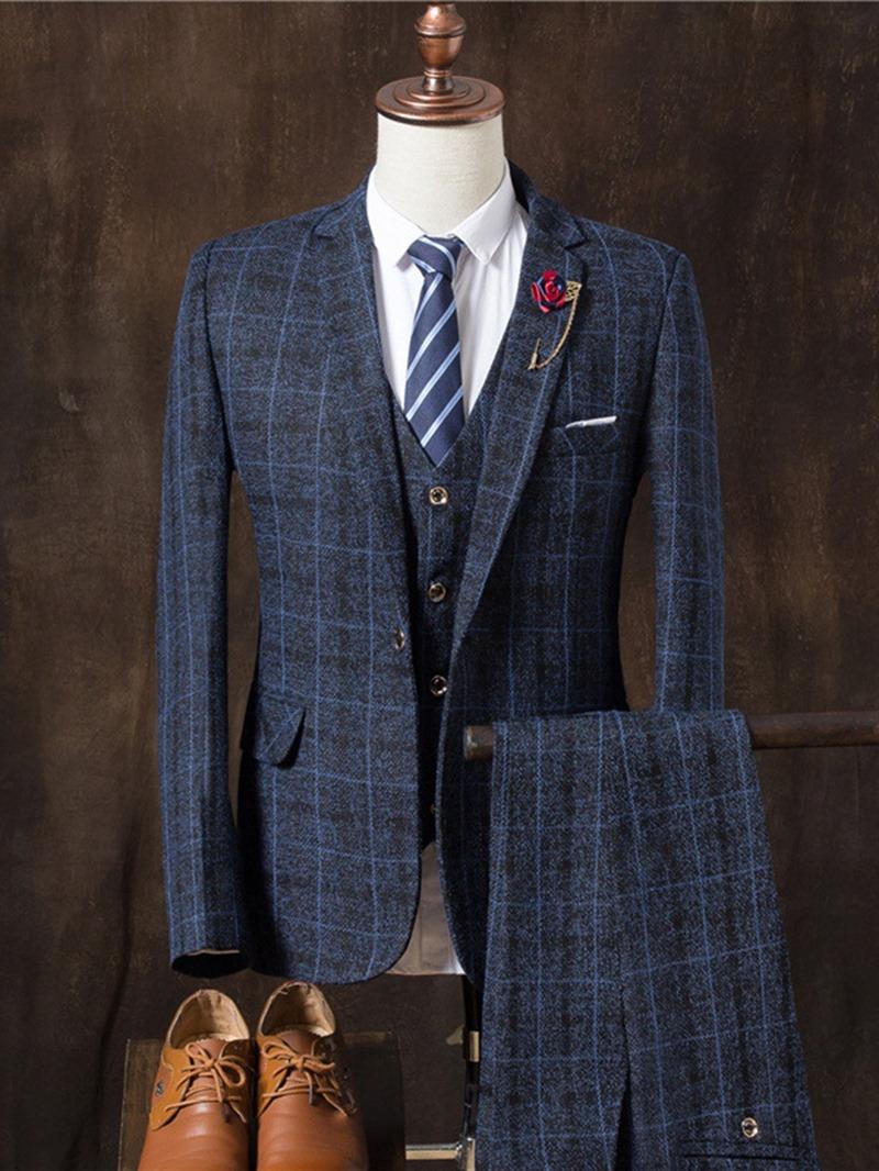 Ericdress Plaid Three Pieces Plaid Vogue Slim Men's Suit