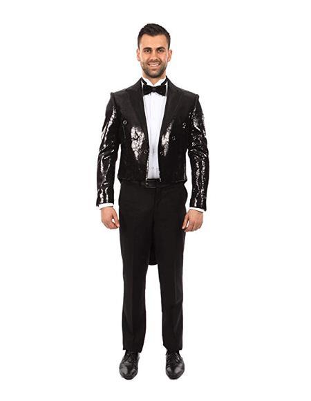 Black Sequin Shiny Tailcoat Tail Tuxedo Jacket + Pants