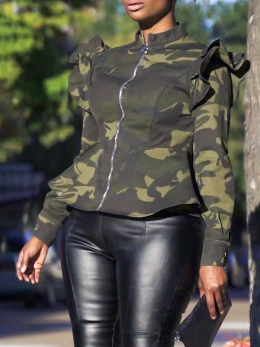 LW Lovely Casual Camo Print Green Plus Size Coat