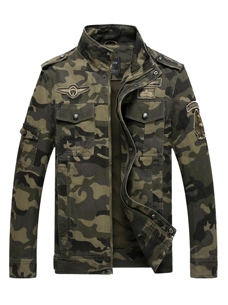 Ericdress Cotton Blends Camouflage Stand Collar Zip Mens Jacket