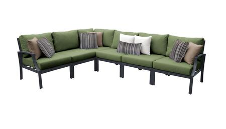 Lexington LEXINGTON-06v-CILANTRO 6-Piece Aluminum Patio Set 06v with 1 Right Arm Chair  1 Left Arm Chair  1 Corner Chair and 3 Armless Chairs - Ash