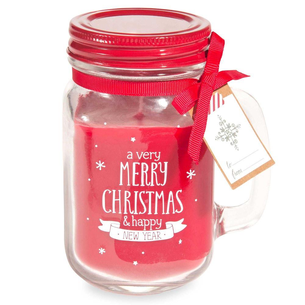 Rote Weihnachtskerze, Kaffeebecher aus Glas