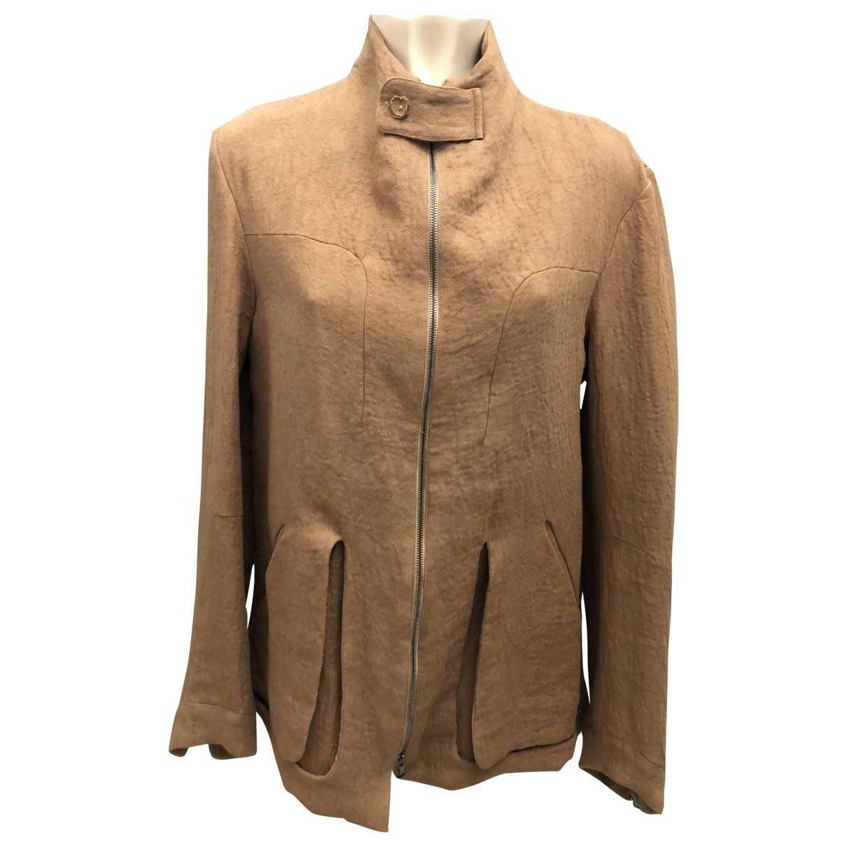 Non Signé / Unsigned \N Camel Linen jacket  for Men 50 IT
