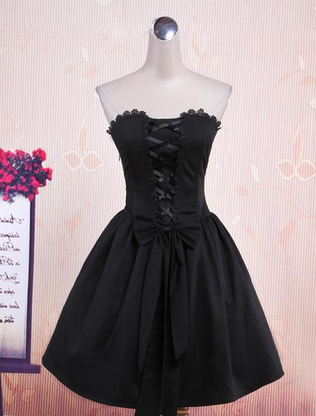 Milanoo Vestido negro de lolita de algodon con tirantes de estilo de punk