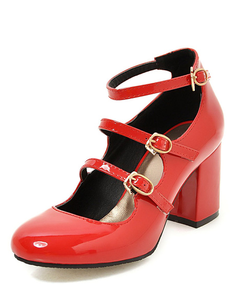 Milanoo Pink Chunky Heels Round Toe Buckled Ankle Strap Pump Shoes For Women