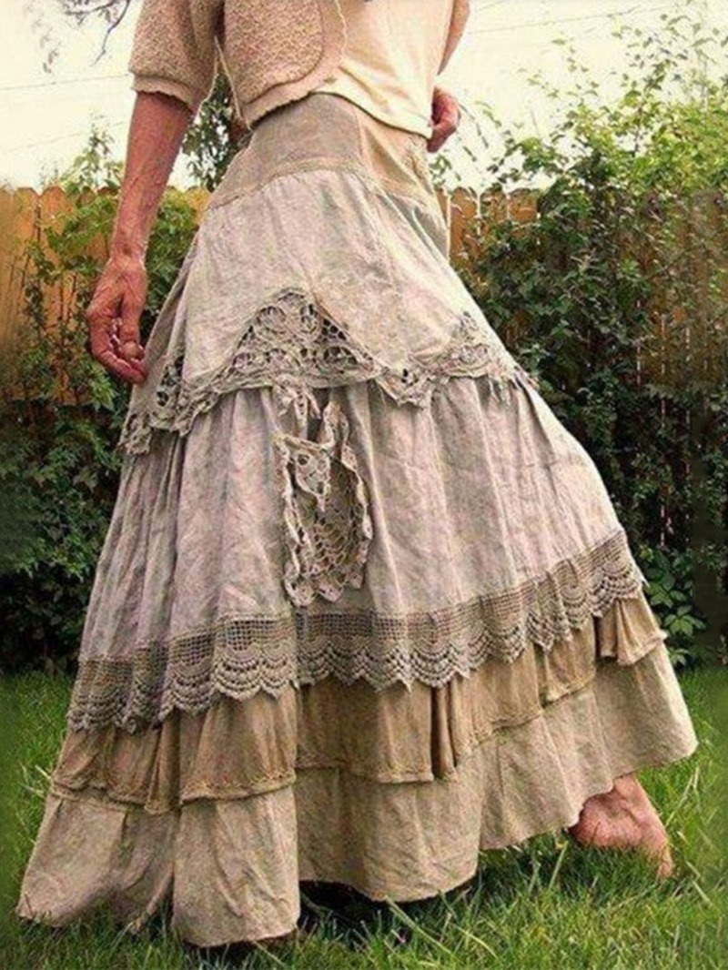 Ericdress Color Block Cupcake Skirts Lace Casual Skirt