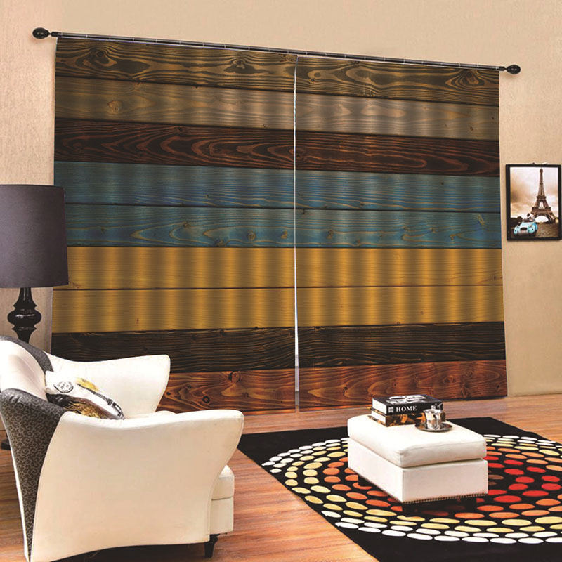 3D Realistic Wood Print Blackout Curtains with Classy Silky Satin Polyester Provides an Elegant Look and Silky Soft Touch Machine Wash Accepted Withou