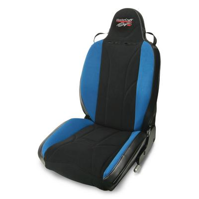 MasterCraft Safety Baja RS with Fixed Headrest, Black with Black Center & Blue Side Panels, Recliner Lever Left - 504023