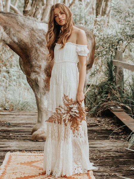 Milanoo Vestido de novia Boho 2020 Encaje fuera del hombro Una linea de vestido de novia de encaje hasta el suelo