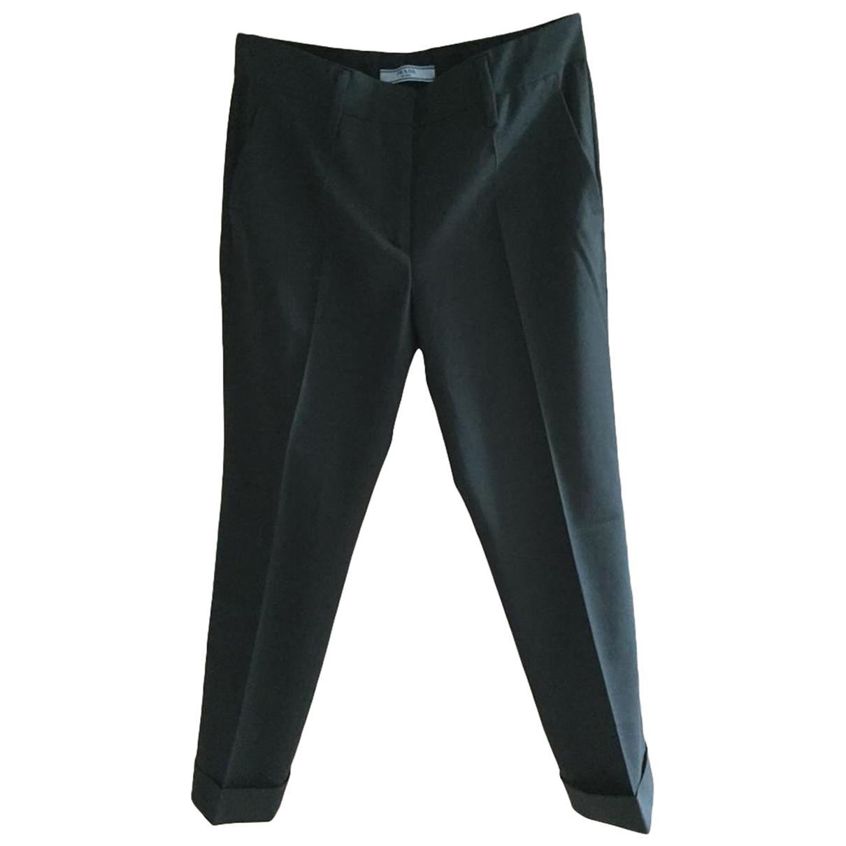 Prada N Khaki Wool Trousers for Women 38 IT