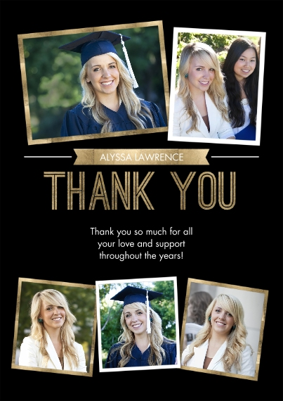 Graduation Thank You Cards Flat Glossy Photo Paper Cards with Envelopes, 5x7, Card & Stationery -Grad Thank You Snapshots by Tumbalina
