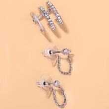 3 Stuecke Ohrringe mit Strass und Kette