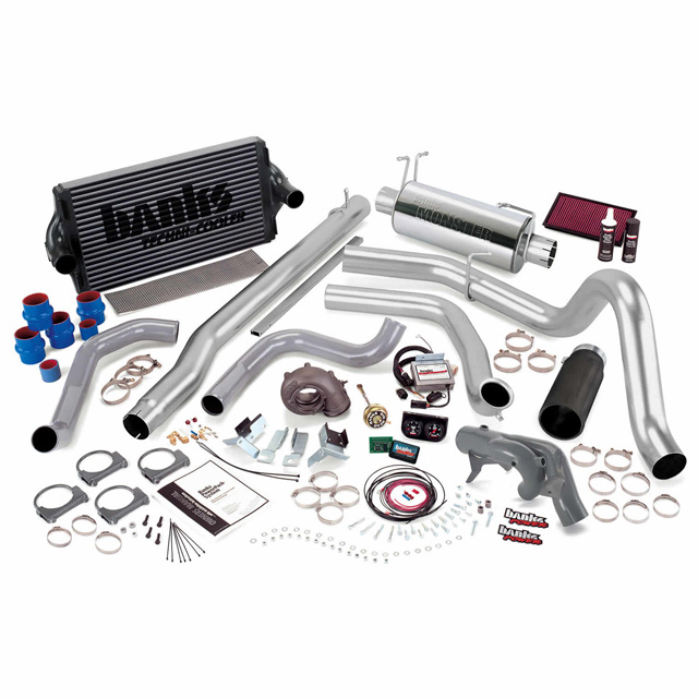 PowerPack Bundle Complete Power System W/Single Exit Exhaust Black Tip 99.5 Ford 7.3L F450/F550 Automatic Transmission Banks Power 47441-B