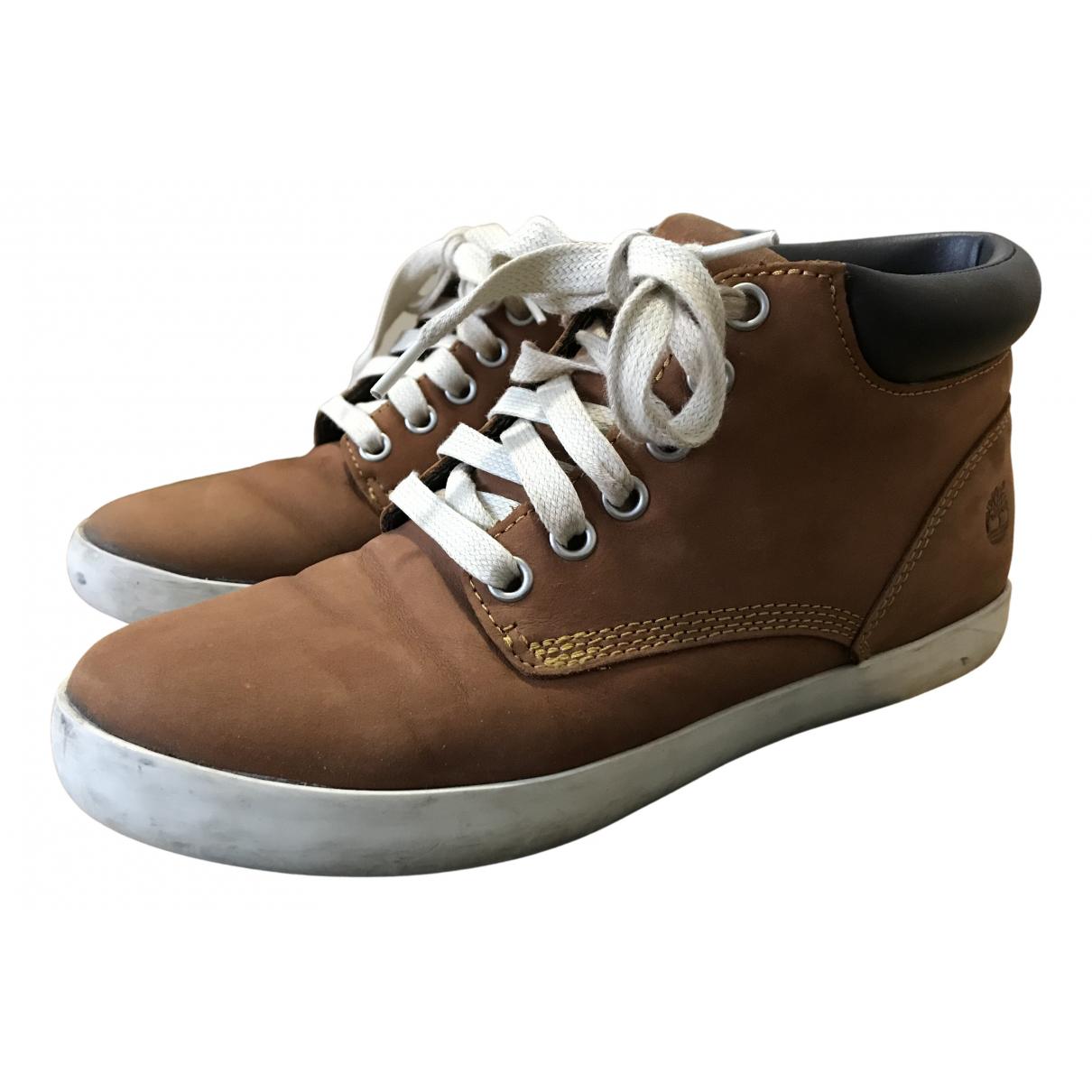 Timberland - Boots   pour femme en cuir - marron