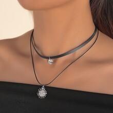 Collar a capas colgante de diamante de imitacion