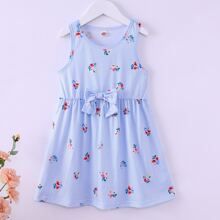 Toddler Girls Stripe And Floral Bow Front Babydoll Dress
