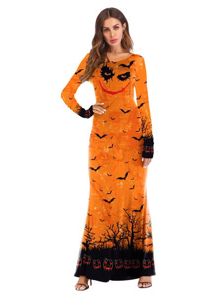 Milanoo Women\'s Halloween Costumes Orange Stretch Dress Polyester Dress