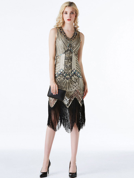 Milanoo Black Golden Flapper Dresses 1920s Fashion Style Great Gatsby Costume Women's Sequined V Neck Fringe Vintage 20s Party Outfits Dress