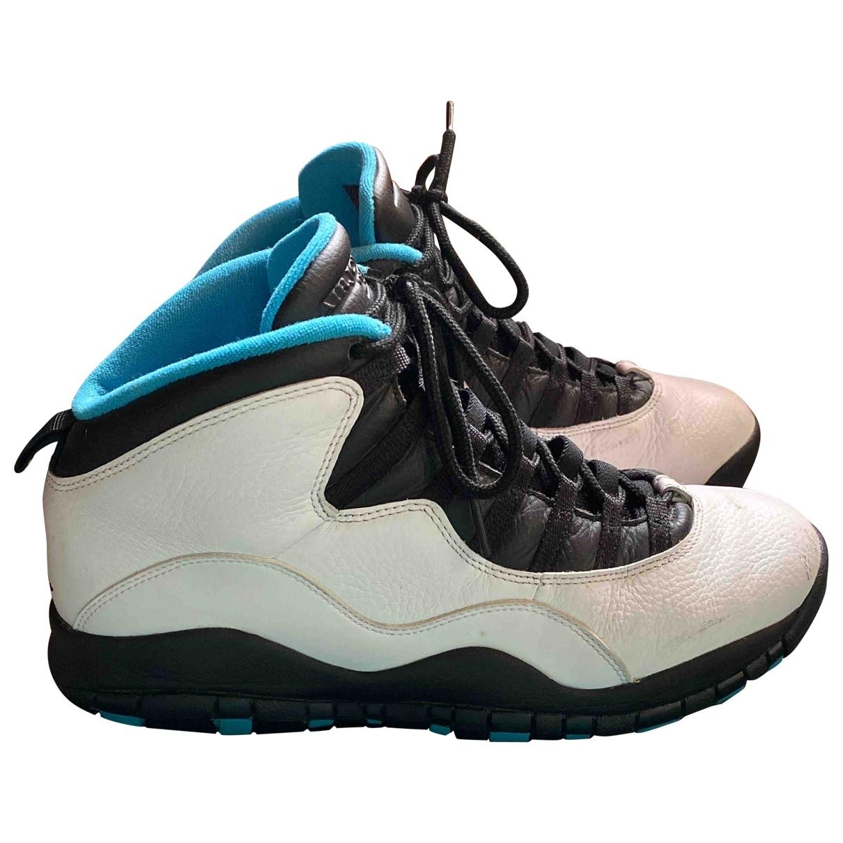 Jordan - Baskets Air Jordan 10 pour homme en cuir - blanc