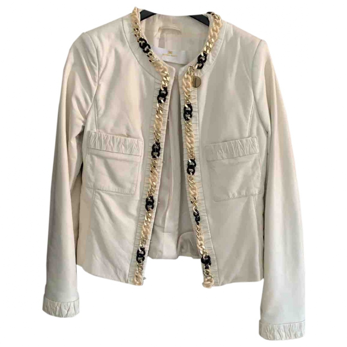 Elisabetta Franchi \N White Leather jacket for Women 42 IT
