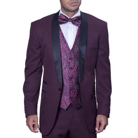 Maroon Burgundy Tuxedo Suit / Tux Wine With Black Lapel Vested Suit