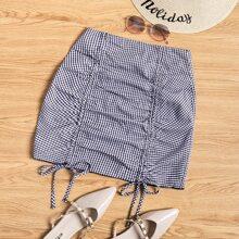 Gingham Drawstring Front Mini Skirt