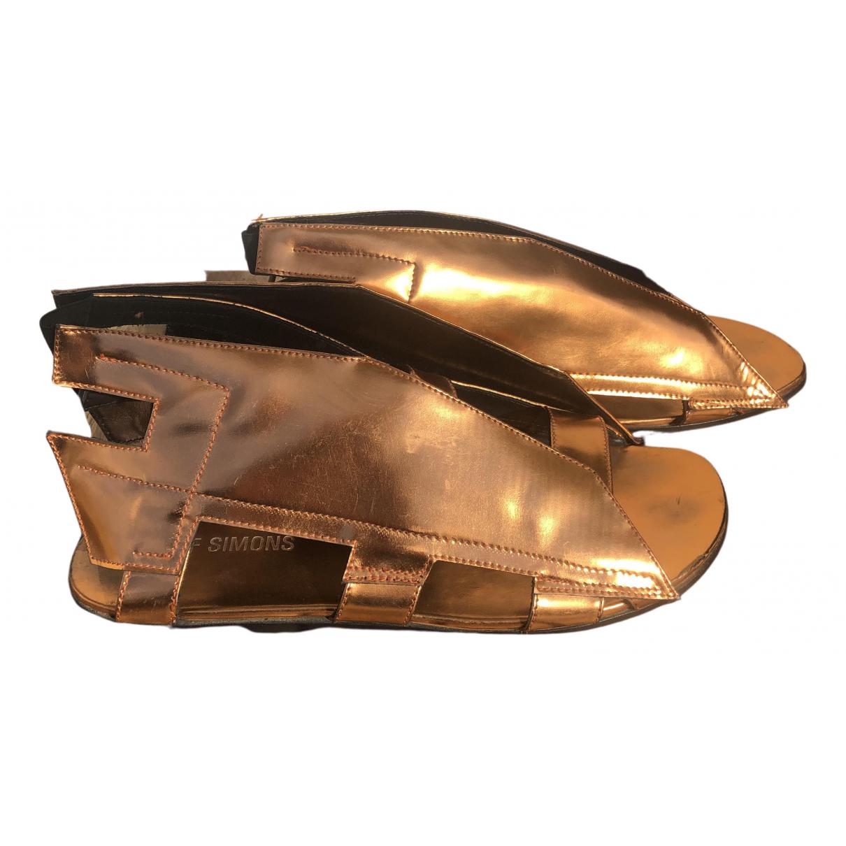 Raf Simons - Sandales   pour homme en cuir verni - metallise