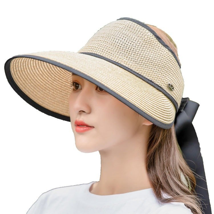 Women Summer Sunscreen Empty-top Straw Hat Outdoor Casual Seaside Visor Hat