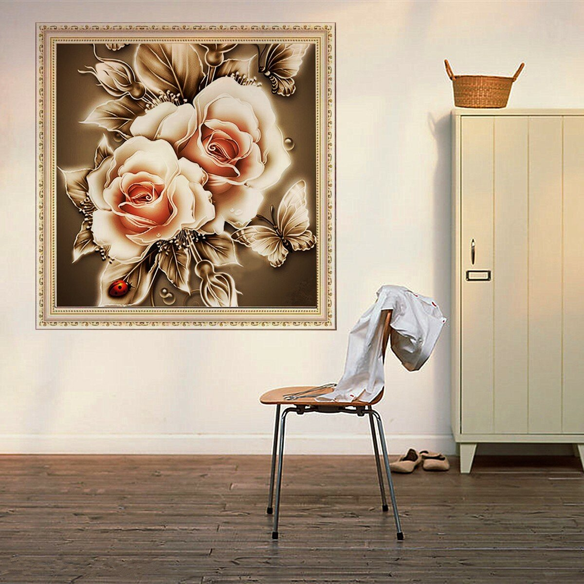 5D DIY Diamond Retro Flower Embroidery Painting Cross Stitch Kit Home Wall Decor