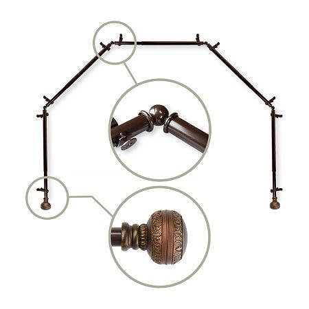Rod Desyne Ornament 5-Sided Bay Window Rod, One Size , Brown