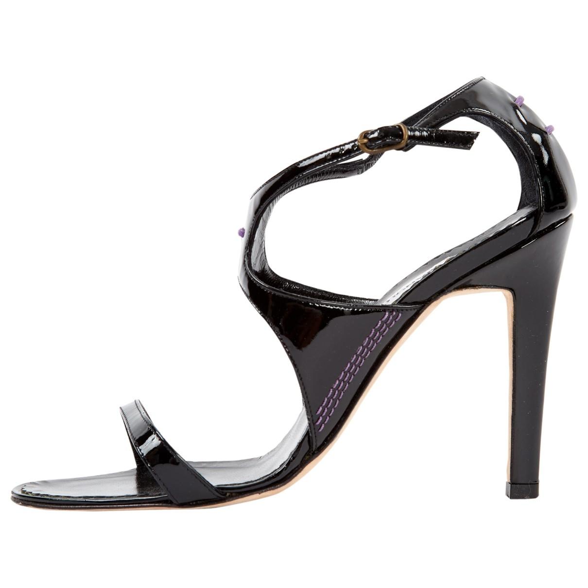 Manolo Blahnik \N Black Patent leather Sandals for Women 36.5 EU
