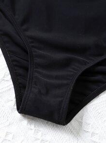 Leaf Print Hanky Hem Bikini Swimsuit