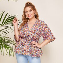 Plus Ditsy Floral Print Belted Peplum Blouse