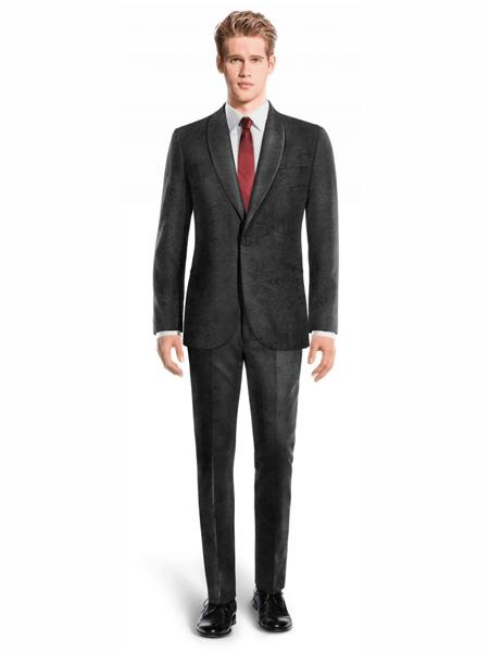 Mens Single Breasted Shawl Lapel Velvet Suit Black