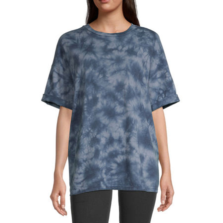 Flirtitude-Juniors Womens Crew Neck Short Sleeve Graphic T-Shirt, Small , Blue