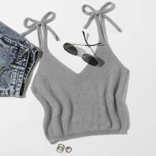 Plus Knot Shoulder Sleeveless Knit Top
