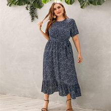Kleid mit Bluemchen Muster, Raffungsaum und Guertel