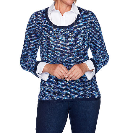 Alfred Dunner Hunter Mountain Womens Long Sleeve Layered Sweaters, Small , Blue