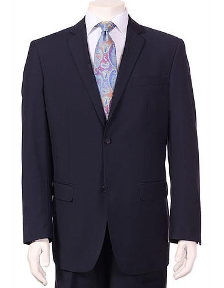 Mens Vitali Single Breasted Authentic 2 Button Navy Slim Fit Suit